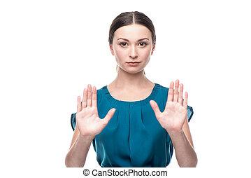 negócio mulher, mostrando, sinal parada, retrato