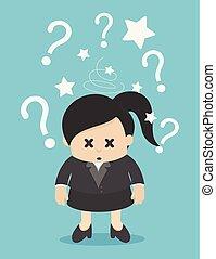 negócio mulher, muitos, pergunta, confundido, marcado, marca