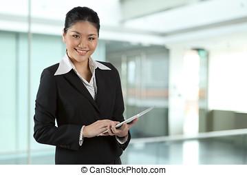 negócio mulher, pc, almofada, asiático, toque