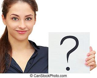 negócio mulher, pergunta, isolado, sinal, experiência., closeup, segurando, retrato, branca, bandeira