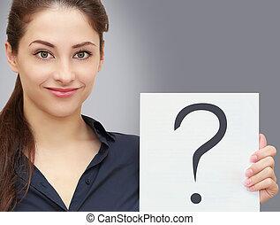 negócio mulher, pergunta, pedido, cinzento, sinal, segurando, em branco