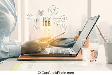 negócio mulher, procurar, oportunidades, trabalho, online