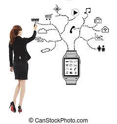 negócio mulher, relógio, aplicações, letra, wearable
