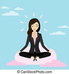 negócio mulher, relaxante, computando, pose lotus, meditar, nuvem