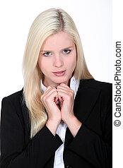 negócio mulher, resultado, loura, entrevista, esperar