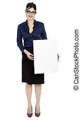 negócio mulher, segurando, sinal
