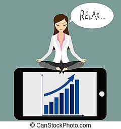 negócio mulher, sentando, loto, telefone, posição, esperto