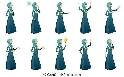 negócio mulher, set., muçulmano, vetorial, ilustrações