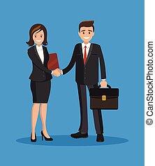 negócio mulher, sucedido, agreement., transação, abanar, ou, hands., homem