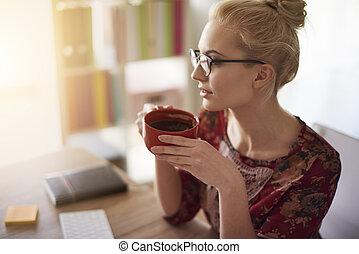 negócio mulher, sucesso, foco
