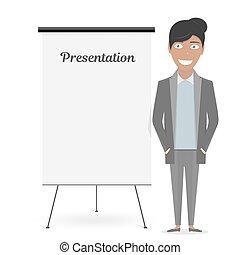 negócio mulher, suit., tábua, branca, apresentação, caricatura
