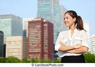 negócio mulher, tóquio, jovem, asiático, retrato