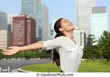 negócio mulher, tóquio, livre, asiático, japão, feliz