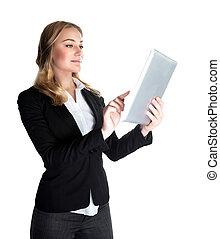 negócio mulher, tabuleta