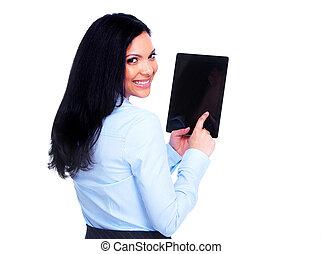 negócio mulher, tabuleta, computer.