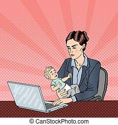negócio mulher, trabalhando, laptop, modernos, estouro, vetorial, ilustração, segurando, baby., art.