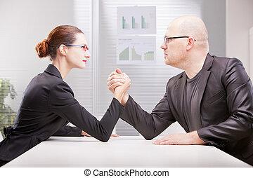 negócio mulher, wrestling, vs, braço, homem
