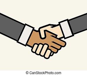 negócio multicultural, aperto mão