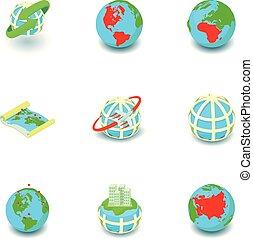 negócio, mundialmente, ícones, jogo, isometric, estilo