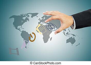 negócio, mundo, em, mão
