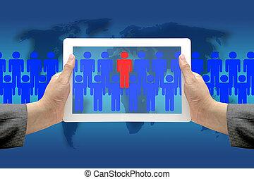 negócio, mundo, recrutamento