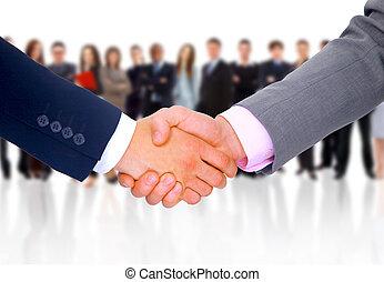 negócio, negócio, mão, selo, pronto, abertos, homem
