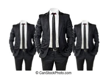 negócio, nenhum rosto, terno preto, homem