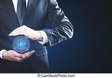 negócio online bancário, e, teia, conceito