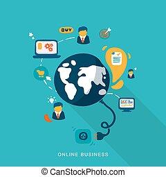 negócio, online