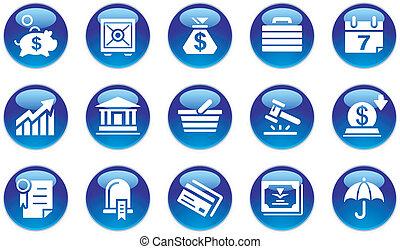 negócio, &, operação bancária, ícones, jogo
