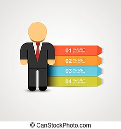 negócio, options., ilustração, vetorial, infographics, homem
