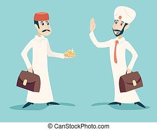 negócio, ouro, caráteres, vindima, saudação, ilustração, árabe, vetorial, desenho, retro, fundo, homem negócios, elegante, proposta, caricatura, ícone