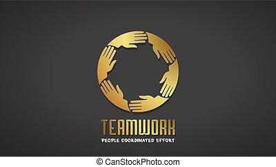 negócio, ouro, trabalho equipe, desenho, mãos, logotipo