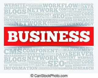 negócio, palavra, nuvem