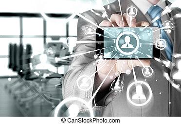 negócio, passe segurar, um, telefone, mostrar, a, social, rede