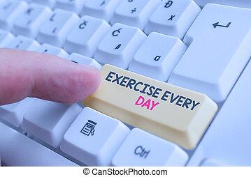 negócio, pc, energeticamente, day., corporal, nota, exercício, branca, showcasing, ordem, adquira, mostrando, experiência., foto, ajustar, teclado, acima, papel, cada, movimento, saudável, escrita