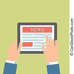 negócio, pc tabela, notícia, homem negócios, leitura
