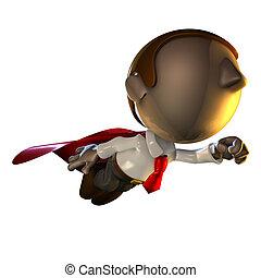 negócio, personagem, homem, voando, 3d