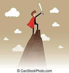 negócio, personagem, ilustração, descrevendo, conceitual, sucesso, topo, mountain., success: