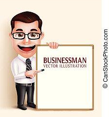 negócio, personagem, realístico, vetorial, tábua, segurando, em branco, profissional, branca, homem, 3d