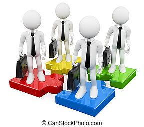 negócio, pessoas., pedaços, trabalho equipe, branca, quebra-cabeça, 3d