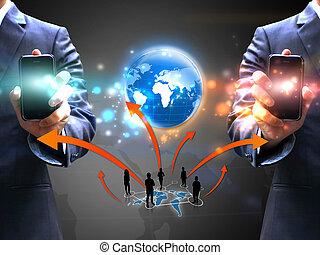 negócio, pessoas, rede, segurando,  social