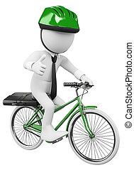 negócio, pessoas., trabalho, bicicleta, branca, 3d