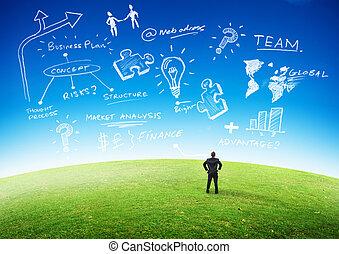 negócio, planificação, conceito
