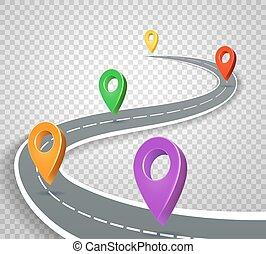 negócio, ponteiros, ilustração, roadmap, experiência., vetorial, estrada, alfinetes, abstratos, transparente, 3d