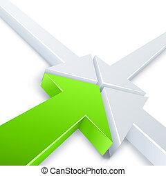 negócio, ponto, abstratos, setas, um, 1, experiência., 3, vetorial, verde branco, reunião, concept.