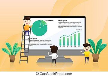 negócio, ponto, gráfico, apresentado, mapa, presented., jovem, dedos, homem negócios, saliência, investimento, owner.