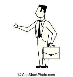 negócio, pretas, avatar, branca, ícone, caricatura, homem