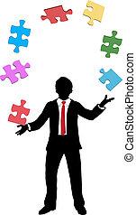 negócio, problemas, pedaços, juggling, quebra-cabeça, homem