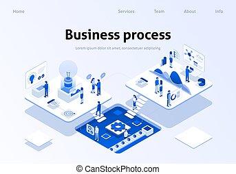 negócio, processo, aterragem, optimized, trabalho equipe, página